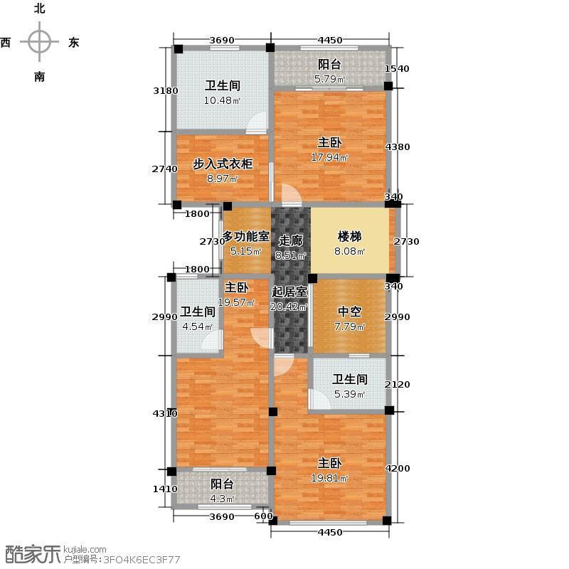 棠湖泊林城129.00㎡A连院央墅二层平面图共户型3室3卫