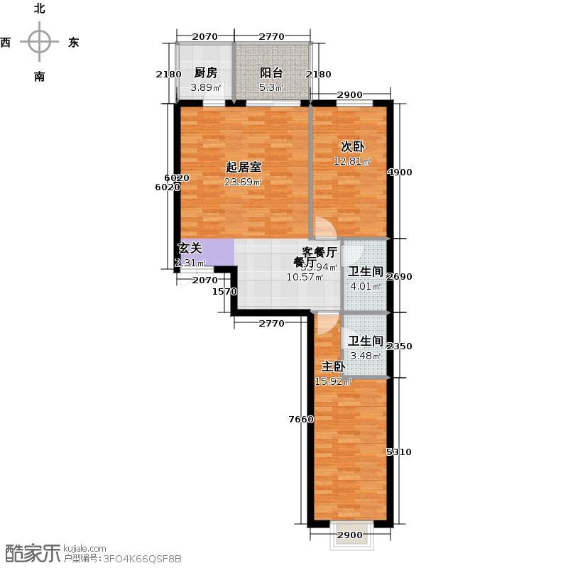 戛纳35号115.57㎡c12户型2室1厅2卫1厨