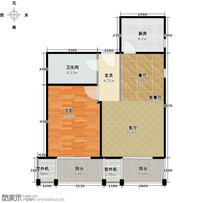 永翌公馆73.02㎡12号楼K1户型1室1厅1卫1厨