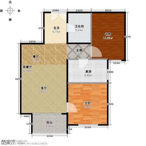 建邦枫景2室1厅1卫1厨80.00㎡户型图