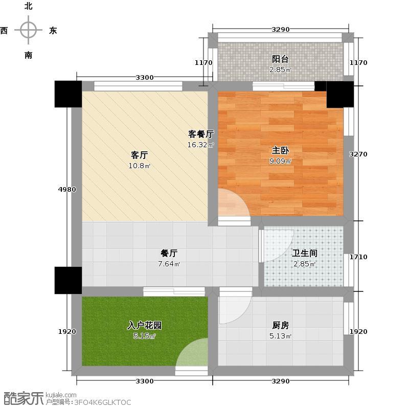 泽瀚峰景49.37㎡1―A奇数层一期1栋户型1室1厅1卫1厨