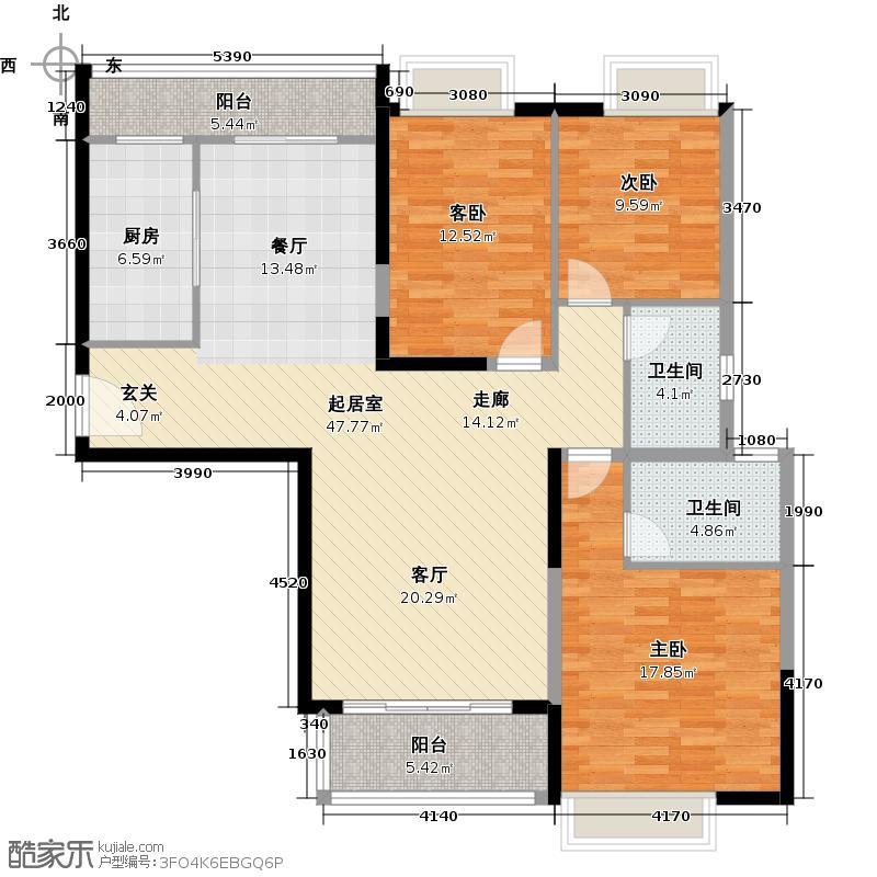 南沙珠江湾133.54㎡B栋01单元户型3室2卫1厨