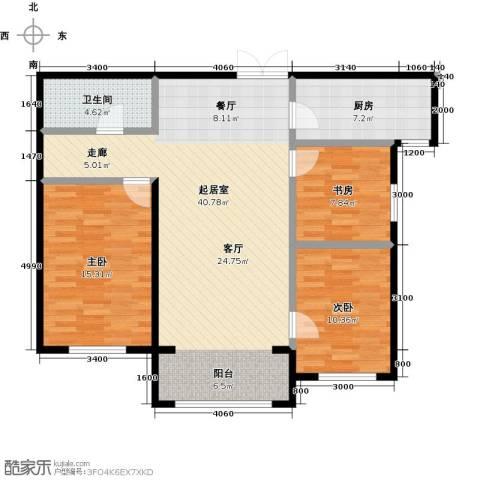 博雅园3室0厅1卫1厨117.00㎡户型图
