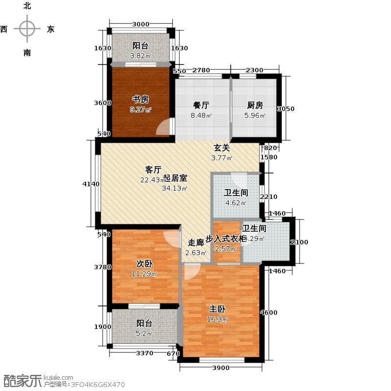 滨江金色黎明123.00㎡D11、2、4、5号楼2单元04室奇数层户型3室2厅2卫