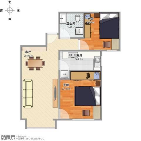 北京城建・福润四季2室1厅1卫1厨65.00㎡户型图