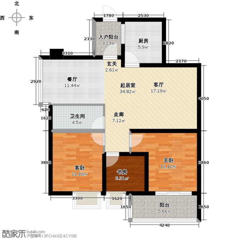 丽海雅居94.77㎡B栋4-14层02单元户型3室1卫1厨
