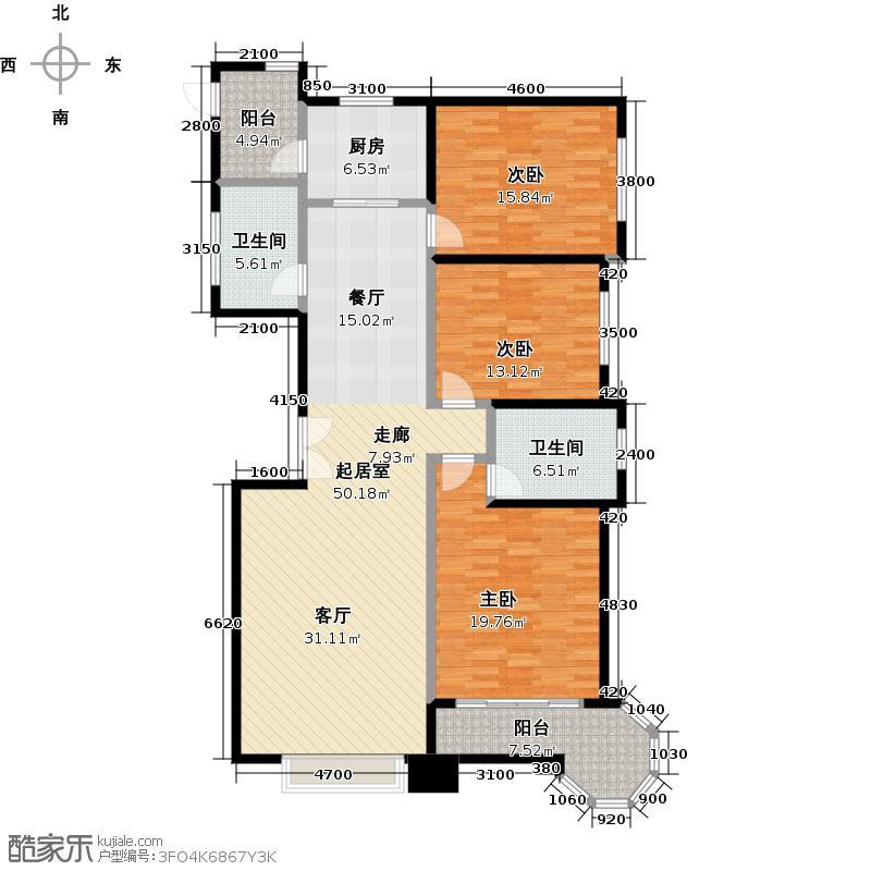 博雅园173.87㎡4#标准层五户型3室2卫1厨