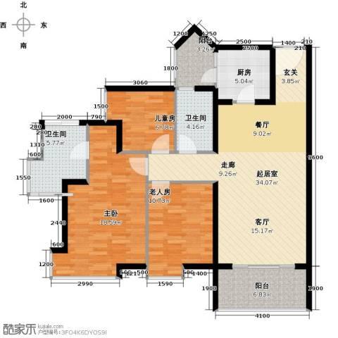 悦时代花园3室0厅2卫1厨106.65㎡户型图