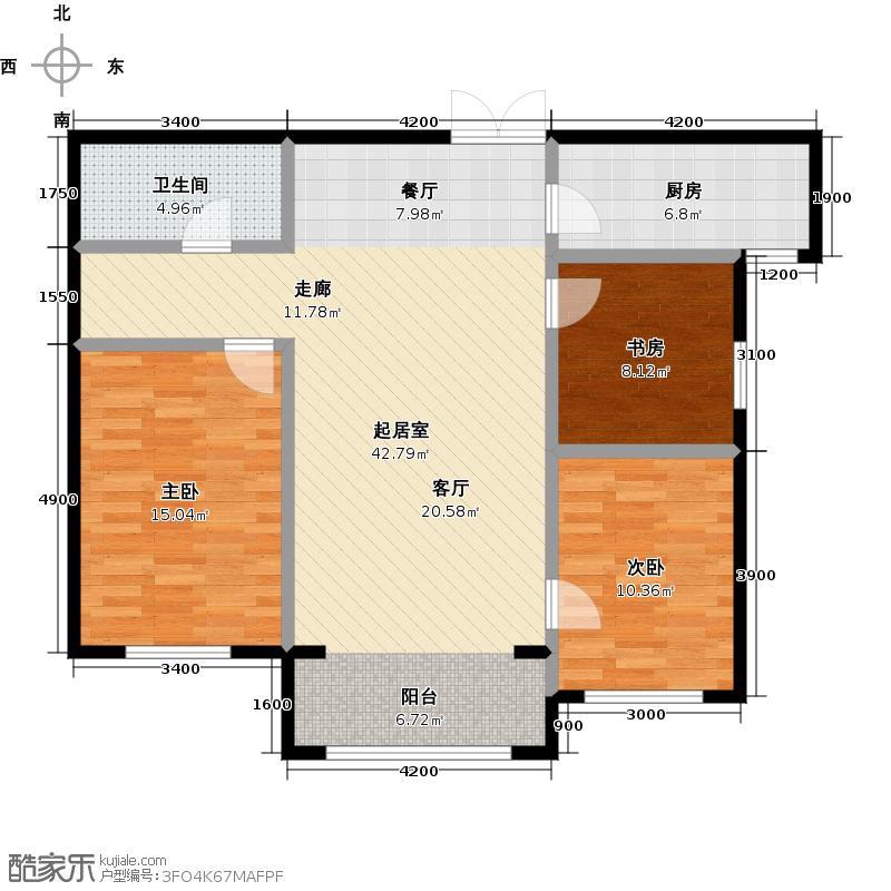 博雅园116.06㎡4#B户型3室1卫1厨