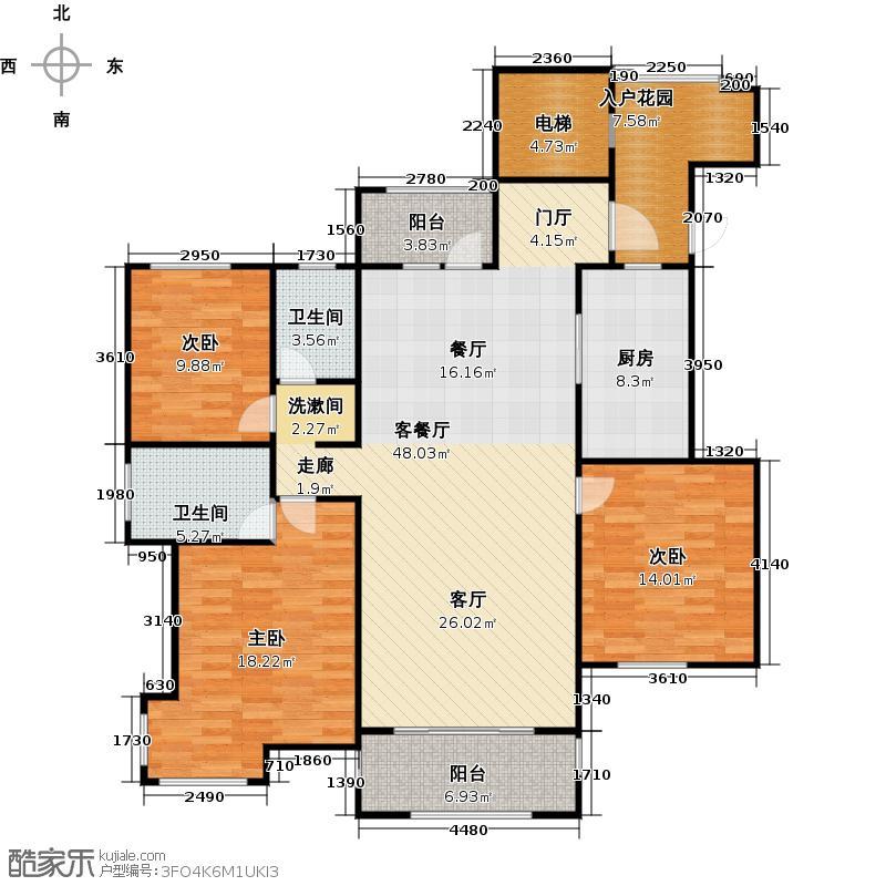荣盛龙湖半岛141.00㎡C3户型3室1厅2卫1厨