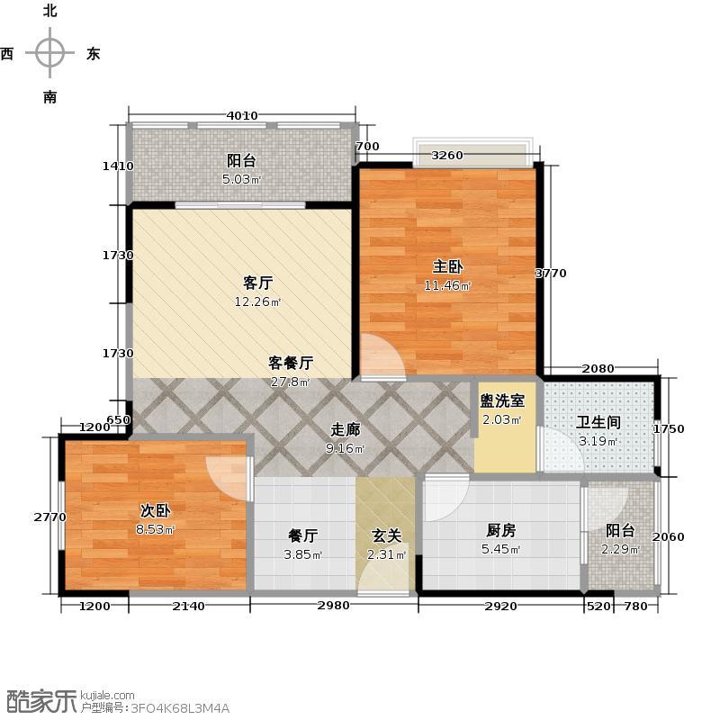 润洲金外滩78.74㎡A3型户型2室1厅1卫1厨