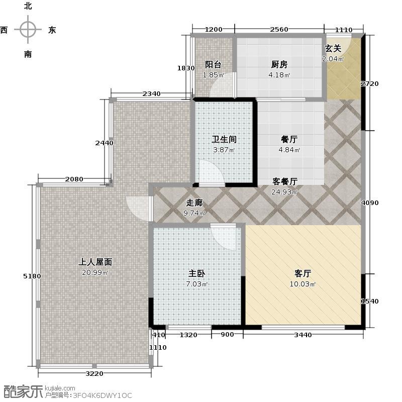润洲金外滩69.35㎡B2'型户型1室1厅1卫1厨