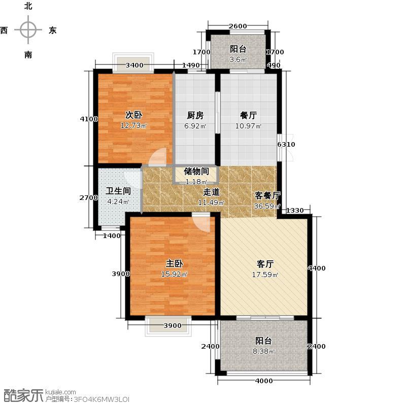 碧瑶花园99.76㎡B-3户型2室1厅1卫1厨