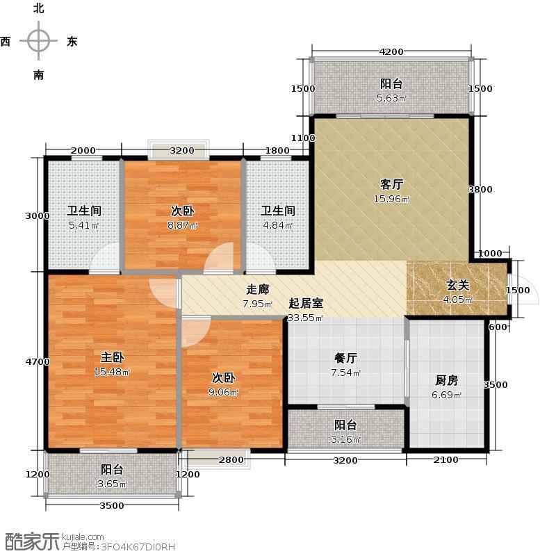 碧桂园豪园124.64㎡J249A宽景户型3室2卫1厨
