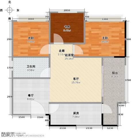 阳光100芒果TOWN3室0厅1卫1厨85.00㎡户型图