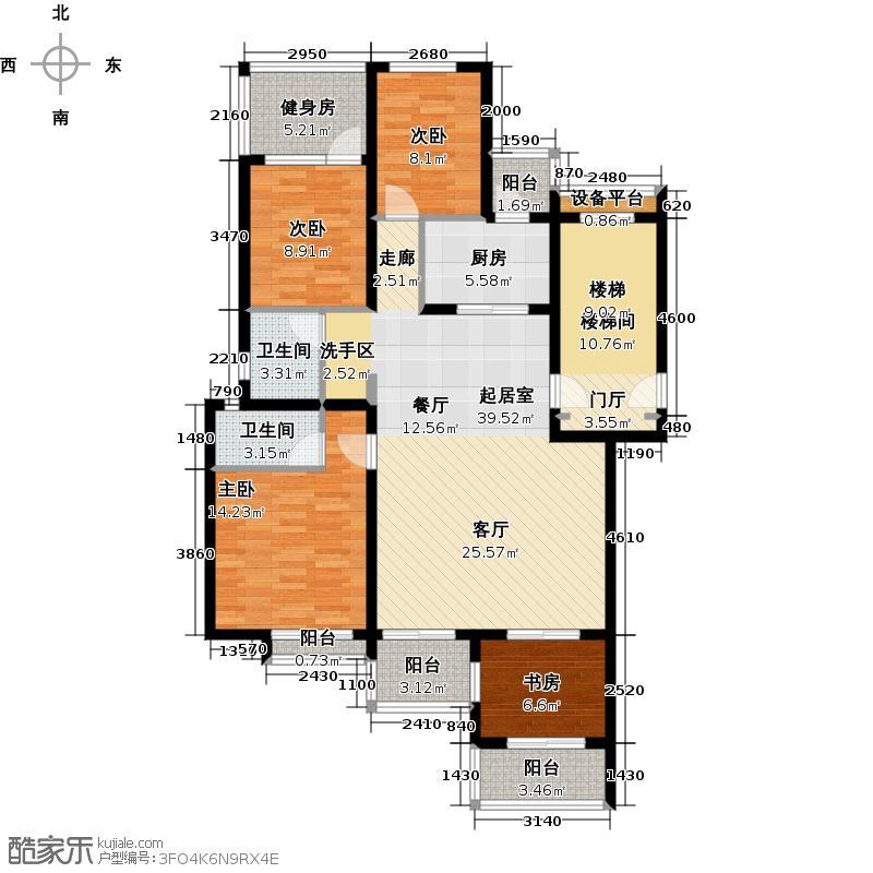 珑�庭134.00㎡D户型4室2卫1厨