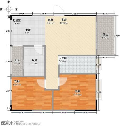 阳光100芒果TOWN2室0厅1卫1厨81.00㎡户型图