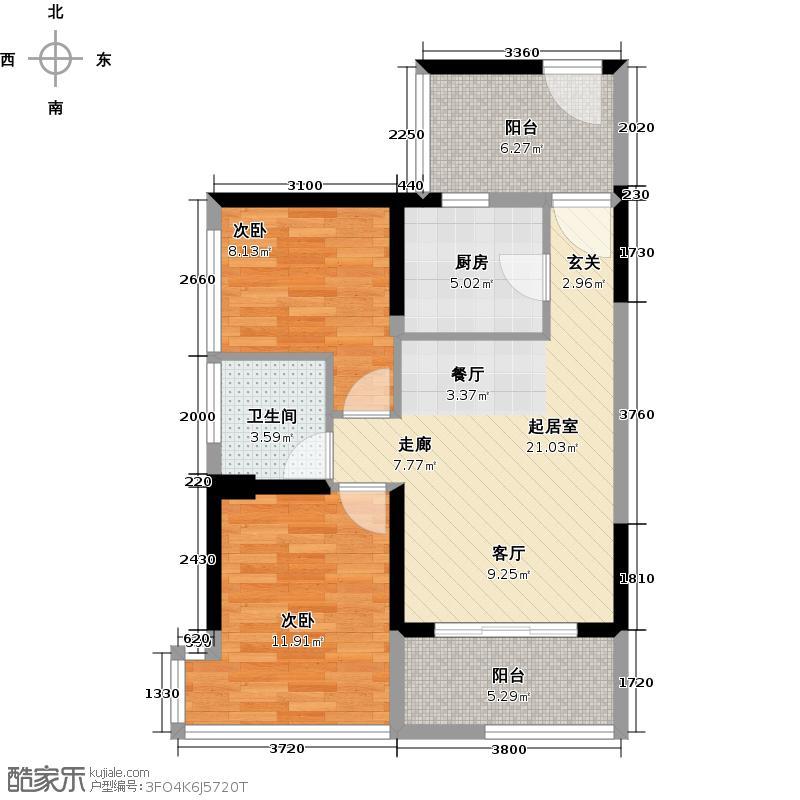 潜龙曼海宁70.78㎡(南区)5栋5-2D2阳台6748-户型2室1卫1厨