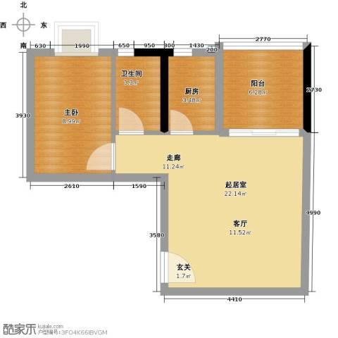 银汇华庭1室0厅1卫1厨63.00㎡户型图