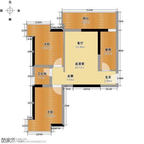 银汇华庭2室0厅1卫1厨84.00㎡户型图