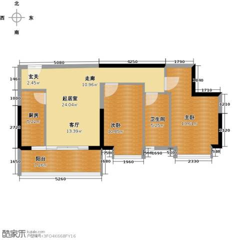 银汇华庭2室0厅1卫1厨94.00㎡户型图