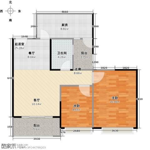 阳光100芒果TOWN2室0厅1卫1厨77.00㎡户型图