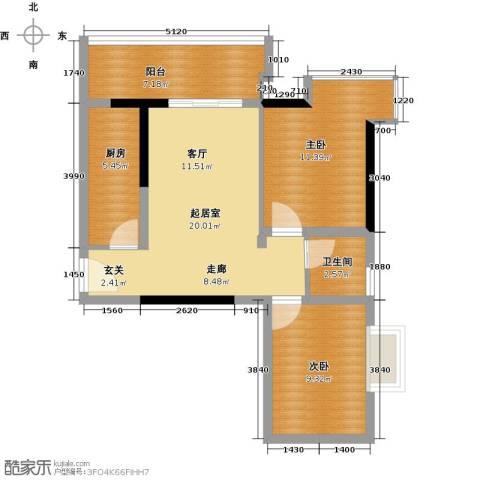 银汇华庭2室0厅1卫1厨81.00㎡户型图