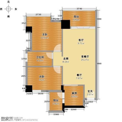 广弘天琪2室1厅1卫1厨91.00㎡户型图