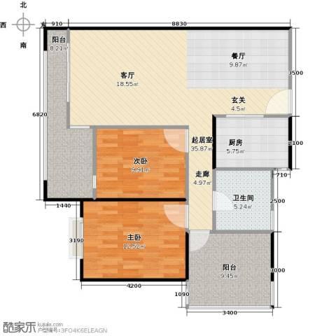 莲湖四季豪园2室0厅1卫1厨117.00㎡户型图