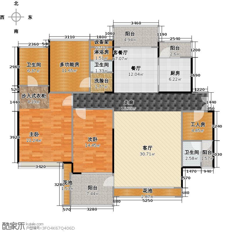香山里162.00㎡2栋CF3栋A(偶数层)户型2室1厅3卫1厨