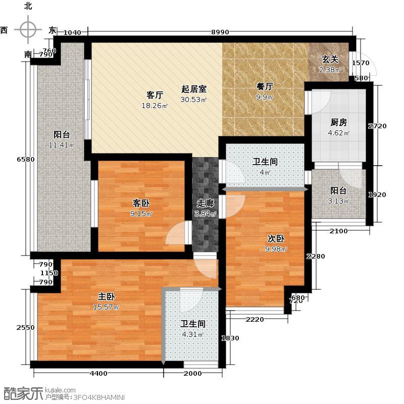 银鑫莲花半岛107.52㎡2栋H型户型3室2卫1厨