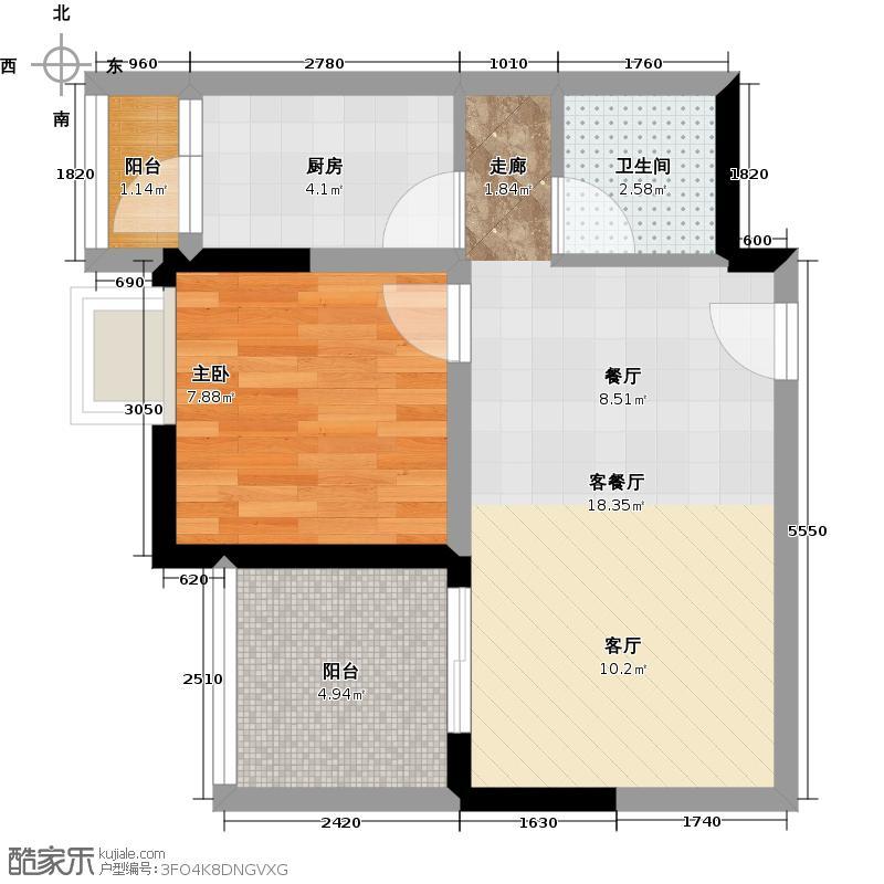 伟清泊客40.52㎡一期1号楼标准层9号房户型1室1厅1卫1厨