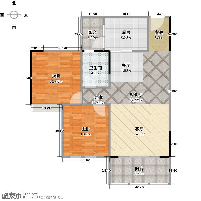 润洲金外滩88.68㎡E2型户型2室1厅1卫1厨