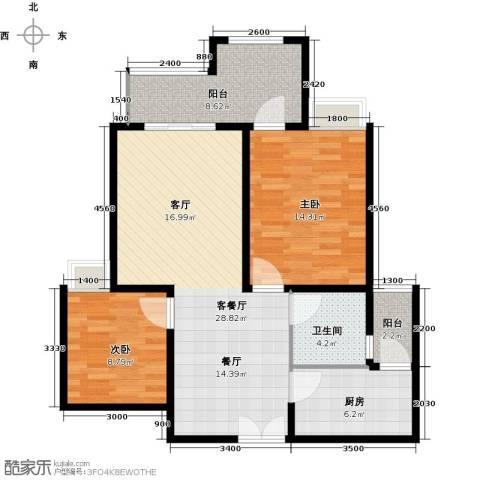约克郡汀兰2室1厅1卫1厨103.00㎡户型图