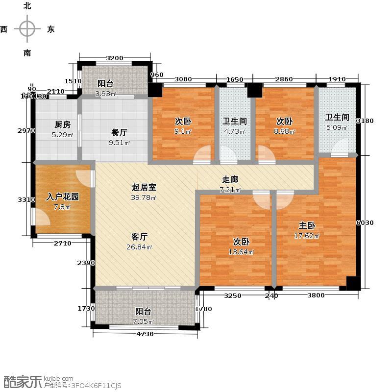 保利花城139.00㎡3-1、7-1号楼标准层03/3-2、7-2号楼标准层02户型4室2卫1厨