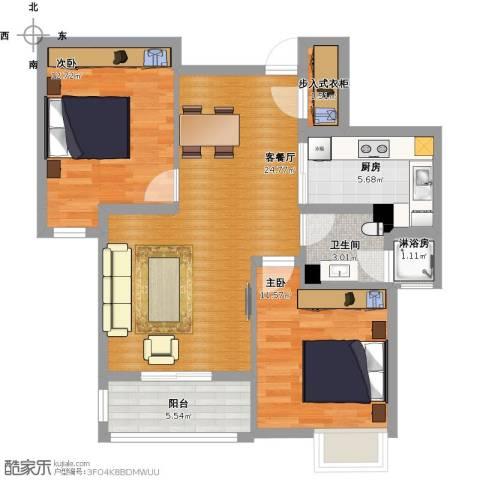 康恒悦麒美寓2室1厅1卫1厨87.00㎡户型图
