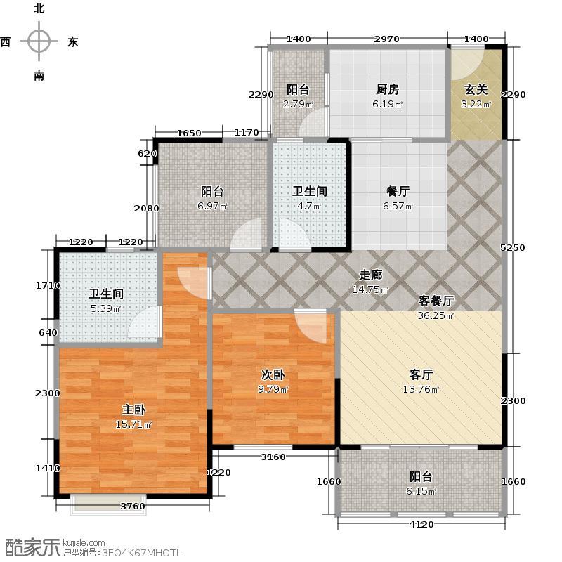 润洲金外滩103.39㎡B2型户型2室1厅2卫1厨