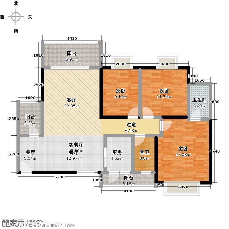 俊怡云山御居123.00㎡4栋03、5栋04户型3室1厅1卫1厨