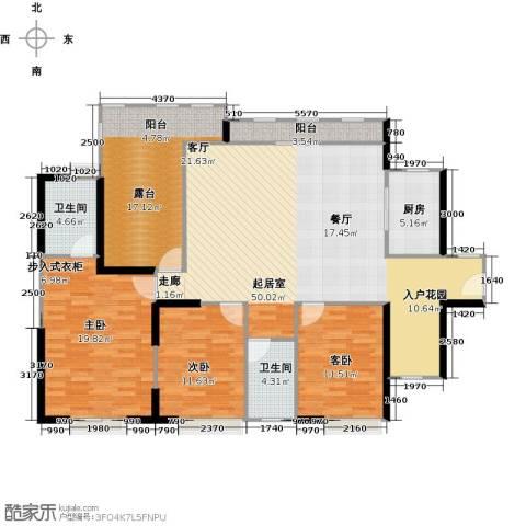 中信观澜凯旋城3室0厅2卫1厨140.00㎡户型图