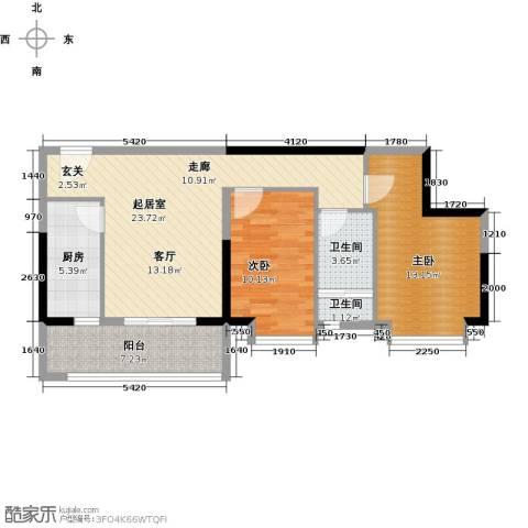 银汇华庭2室0厅2卫1厨92.00㎡户型图