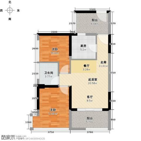 潜龙曼海宁2室0厅1卫1厨71.00㎡户型图