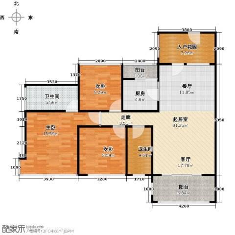 东港华府3室0厅2卫1厨117.00㎡户型图
