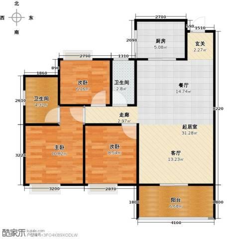 居益凯景中央3室0厅2卫1厨102.00㎡户型图