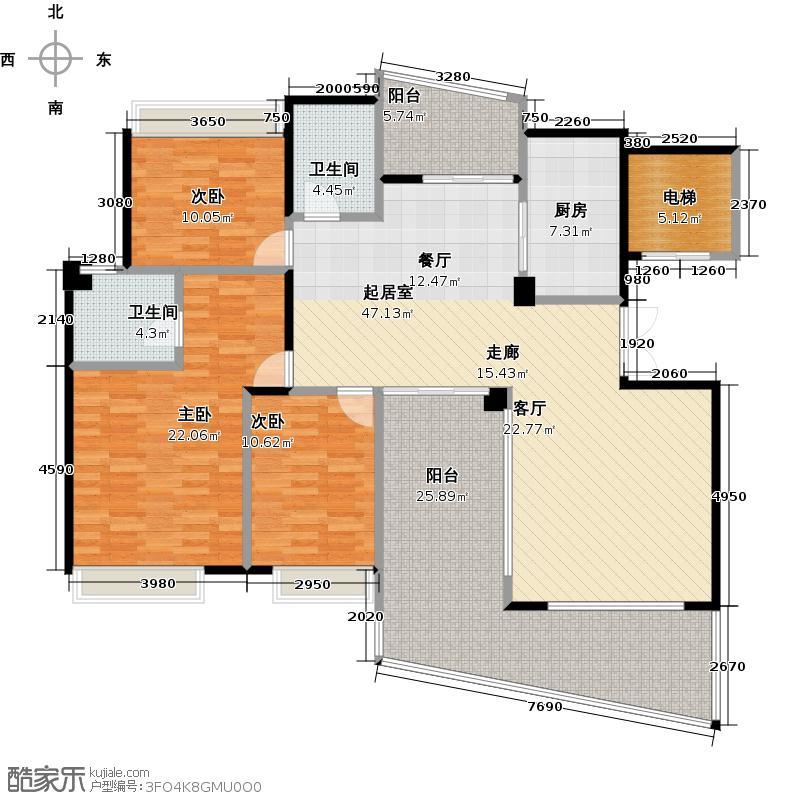 佛山雅居乐花园158.00㎡3+户型3室2卫1厨