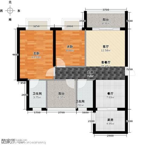 海逸锦绣誉峰2室1厅2卫1厨90.00㎡户型图