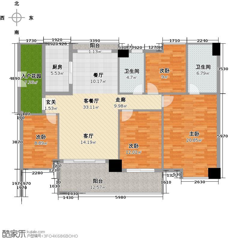 广弘天琪137.02㎡B栋01户型4室1厅2卫1厨