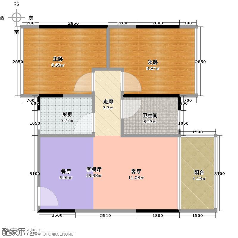 3号线城市公寓62.42㎡A栋02浪漫满屋户型2室1厅1卫1厨