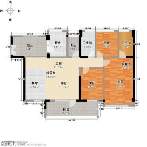 潜龙曼海宁3室0厅2卫1厨121.00㎡户型图