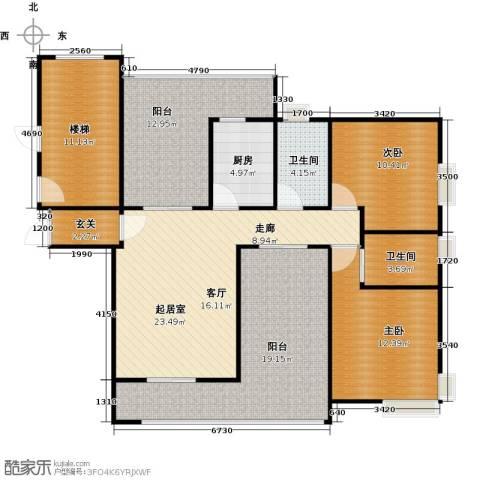 新世纪星城海涛居2室0厅2卫1厨142.00㎡户型图