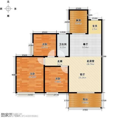 居益凯景中央3室0厅1卫1厨93.00㎡户型图